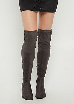 Gray Over The Knee Boot By Yoki