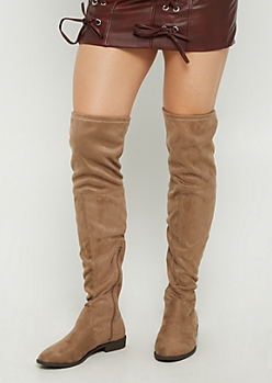 Taupe Over The Knee Boot By Yoki