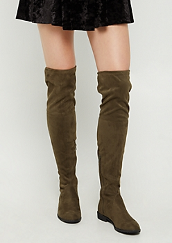 Olive Over The Knee Boot By Yoki