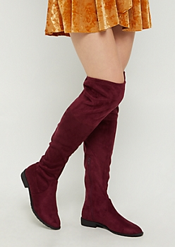 Burgundy Over The Knee Boot By Yoki