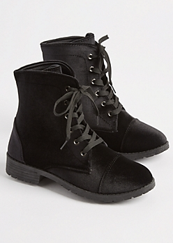 Black Velvet Combat Boot By Yoki