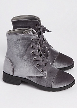 Gray Velvet Combat Boot By Yoki