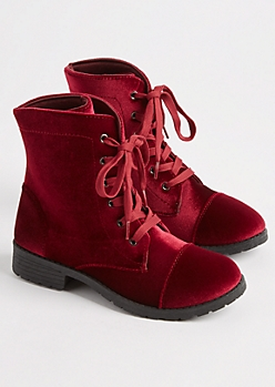 Burgundy Velvet Combat Boot By Yoki