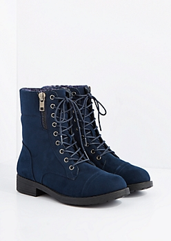 Navy Mock Suede Sweater Knit Cuff Combat Boot