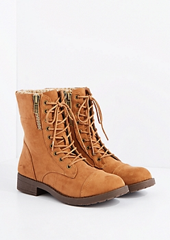 Tan Mock Suede Sweater Knit Cuff Combat Boot