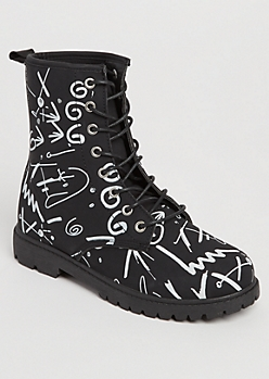 Black Scribbled Combat Boots