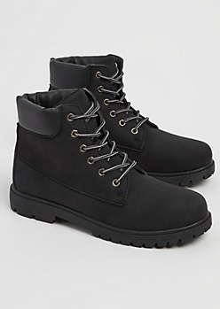 Black Faux Leather Hiking Boot