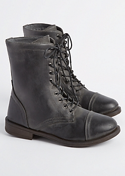 Black Distressed Faux Leather Combat Boot