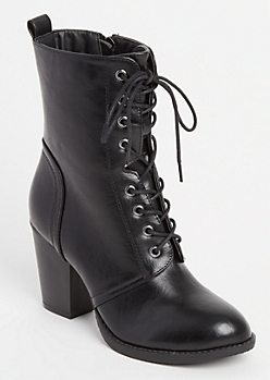 Black Lace-Up Booties