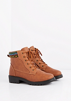 Camel Aztec Sweater Trim Combat Boot