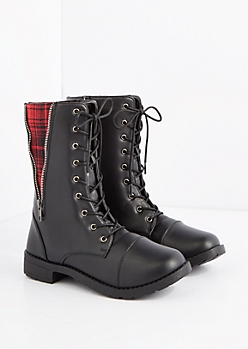 Red Plaid Zip Inset Combat Boot