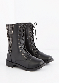 Gray Plaid Zip Inset Combat Boot
