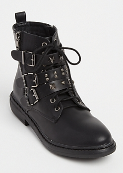 Black Studded Triple Buckle Combat Boots