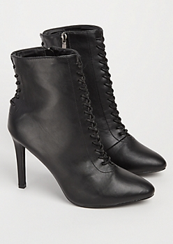 Black Faux Leather Lace Up Bootie By Hot Kiss