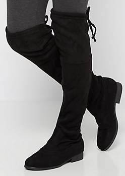 Black Mock Suede Thigh High Boot