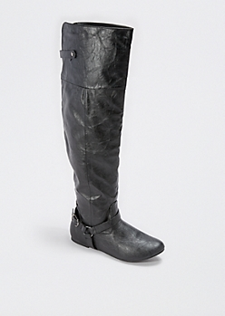 Black Buckled Over-the-Knee Boot