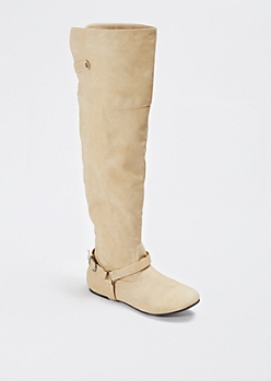 Taupe Buckled Over-the-Knee Boot