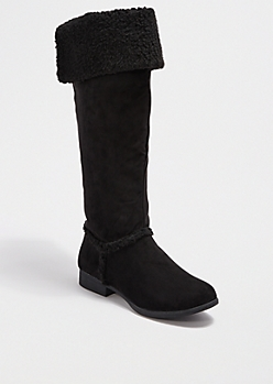 Black Faux Sherpa Over-The-Knee Boot
