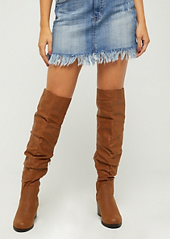 Scrunched Faux Leather Over The Knee Boots