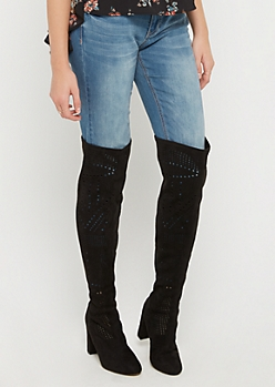 Black Perforated Over The Knee Boots