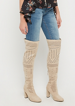 Taupe Perforated Over The Knee Boots