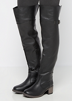 Black Buckle Back Over the Knee Boot