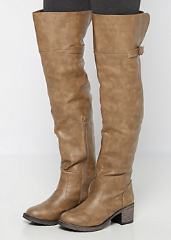 Taupe Buckle Back Over-the-Knee Boot