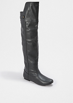 Black Vintage Over-The-Knee Boot By Qupid®