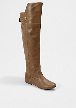 Taupe Vintage Over-The-Knee Boot By Qupid®