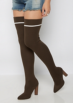 Olive Thigh High Sock Heeled Boots