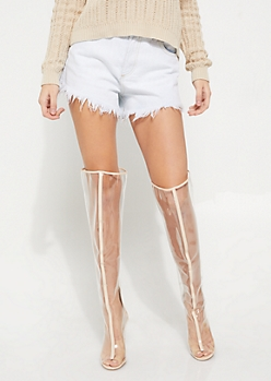 Clear Over The Knee Boots