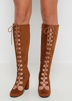 Camel Lace Up Mock Suede Knee Boot by Qupid