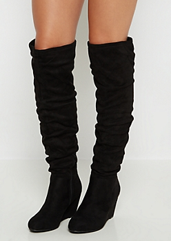 Black Scrunched Mock Suede Thigh High Boots by Qupid®