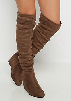 Brown Scrunched Mock Suede Thigh High Boots by Qupid®