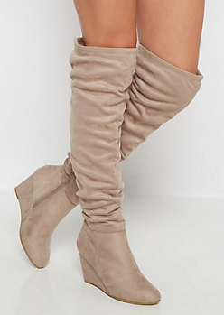 Taupe Scrunched Mock Suede Thigh High Boots by Qupid®