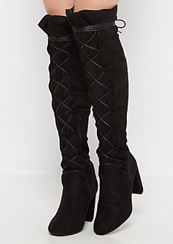 Black Lace Up Mock Suede Wrapped Knee Boot by Qupid®