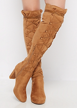 Tan Lace Up Mock Suede Wrapped Knee Boot by Qupid®