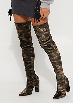 Camo Suede Heeled Over The Knee Boot By Qupid