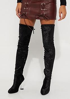 Black Velvet Over The Knee Boot by Qupid