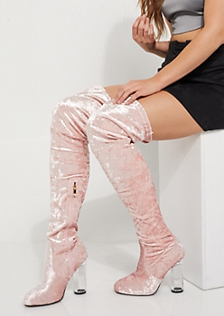 Pink Velvet Over The Knee Boot by Qupid