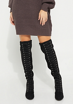 Black Faux Suede Over The Knee Boot By Qupid