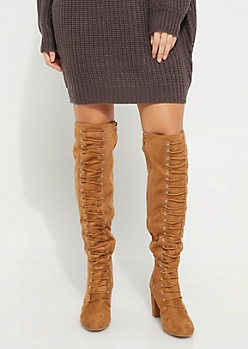 Camel Faux Suede Over The Knee Boot By Qupid