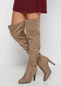 Taupe High Heel Over-The-Knee Boot