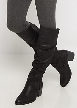Black Scrunched Over-The-Knee Boot