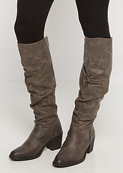 Gray Scrunched Over-The-Knee Boot