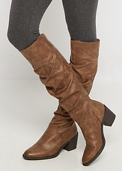 Taupe Scrunched Over-The-Knee Boot