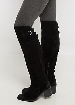 Black Buckled Faux Suede Over-The-Knee Boot