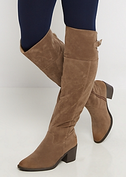 Taupe Buckled Faux Suede Over-The-Knee Boot