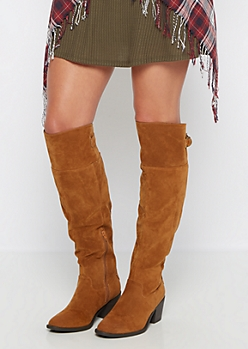 Camel Buckled Faux Suede Over-The-Knee Boot