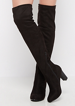 Black Faux Suede Lace Back Over-the-Knee Boot